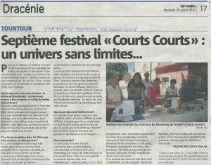Var Matin 20 juillet 2016 - Festival Courts Courts - un Univers sans limites... 1_2 article
