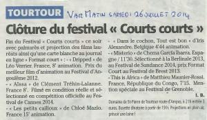 Var Matin 26juillet2014 Festivan Courts Courts programme 3me journée