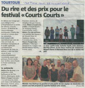 Var Matin 28 juillet 2016 Du rire et des prix pour le festival _Courts Courts_ de Tourtour