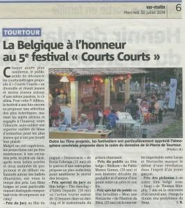 Var Matin 30juillet2014 Festival Courts Courts -Atribution des Prix-